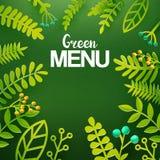 Green leaves paper art on chalkboard Stock Image