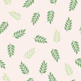Green leaves pattern. Abstract vector pattern on the light pink background. Vector Stock Photography