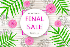 The green leaves, pink flowers and branches on the wood backgrou. Nd. Final sale poster, banner. Vector illustration Stock Photography