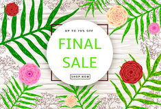 The green leaves, pink and red flowers, branches on the wood bac. Kground. Final sale poster, banner. Vector illustration Royalty Free Stock Images