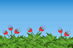 Green leaves and red flowers   on blue sky background. Eps10 Stock Photography