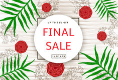 The green leaves, red flowers and branches on the wood backgroun. D. Final sale poster, banner. Vector illustration Royalty Free Stock Images