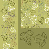 Green leaves seamless pattens set. Seamless pattern, vertical seamless border and simples of leaves in forest green tones. Vector illustration Royalty Free Stock Photography