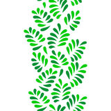 Green leaves seamless vertical border on white, vector Stock Photos