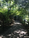 Pathway leading to tunnel at park in Cincinnati stock photo