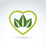 Green leaves in the shape of crown placed on a heart. Vector conceptual ecology coronet. Nature conservation idea Royalty Free Stock Photo