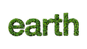 Green leaves spell the word Earth. The word earth made from green leaves, isolated Royalty Free Stock Image