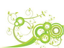 Green leaves with spirals and splashes Royalty Free Stock Photo