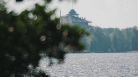 Green leaves swinging in wind over lake. Focus pulling. House on a background stock video footage
