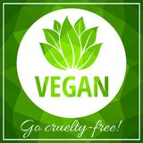 Green leaves vegan banner, low polygonal background with white circle vector stock illustration