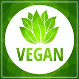 Green leaves vegan low polygonal background with white circle vector stock illustration