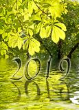 2019, Green leaves and water reflections. Greeting card royalty free stock photography