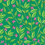 Green leaves watercolor seamless pattern Royalty Free Stock Image