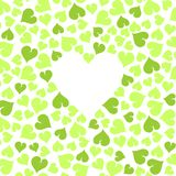 Green leaves with white heart shape Stock Photography