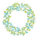 Green leaves wreath design element in hand drawn Royalty Free Stock Photography