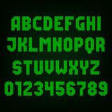 Green led digital display font. Vector alphabet. Stock Photos