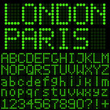 Green LED Digits. Green LED Letters and Numbers Royalty Free Stock Photography