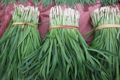 Green leek. In a market stock photo