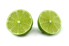 Green lemon cut. On white background Royalty Free Stock Photography