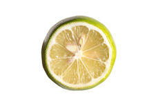 Green lemon cut half slice isolated on white background Stock Photography