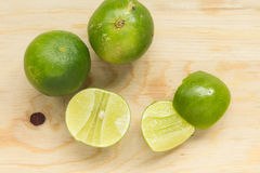 Green lemon. With detail of inside Stock Images