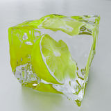 Green lemon in the ice Royalty Free Stock Image