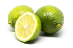 Green lemon. The lemon, Citrus limon L. Osbeck, is a species of small evergreen tree in the flowering plant ... There is also a pink-fleshed Eureka lemon, with a Stock Photography