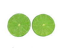 Green lemon slice of fresh  on white background Stock Photos