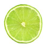Green lime slice. Isolated on white background stock photos