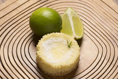 green lemon tart and mint on wooden background royalty free stock photography