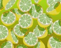Green lemons. Editable  illustration of falling sliced green lemons Royalty Free Stock Images