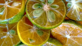 Green Lemons, Halved Fruits Stock Photos