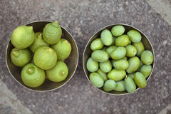 Green Lemons and Olives Royalty Free Stock Photo