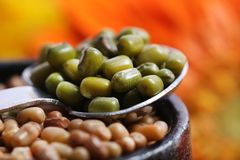 Green lentil. Beautiful shot ofgreen lentils in spoon Stock Image