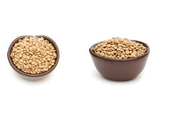 Green lentil in round brown cup Royalty Free Stock Images