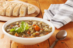 Green Lentil Soup and Bread Royalty Free Stock Photography