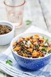Green lentils carrots celery salad royalty free stock photos