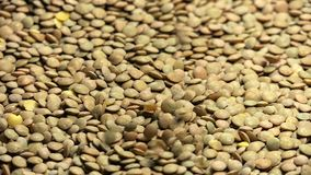 Green lentils falling from top in slow motion 96 fps stock video footage