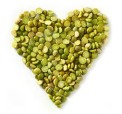 Green lentils heart Stock Images