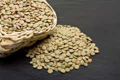 Green Lentils on slate Stock Photography