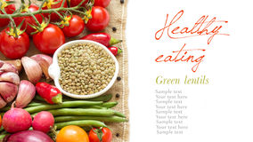 Green lentils and vegetables Stock Photos
