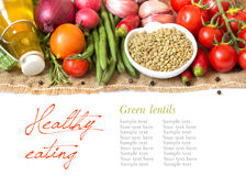 Green lentils and vegetables Royalty Free Stock Photo