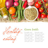 Green lentils and vegetables Stock Image