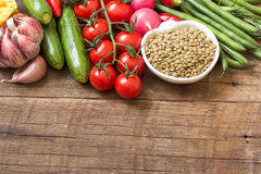 Green lentils and vegetables Royalty Free Stock Image