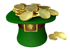Green Leprechaun Hat Filled With Gold Coins Royalty Free Stock Images