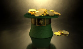 Green Leprechaun Hat Filled With Gold Coins Royalty Free Stock Image