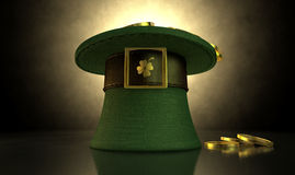 Green Leprechaun Hat Filled With Gold Coins Royalty Free Stock Photos