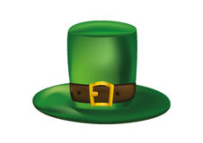Green leprechaun hat with a leather strap. St.Patrick `s Day. Ve Stock Images