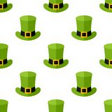 Green Leprechaun Hat Seamless Pattern. A seamless pattern with a green Leprechaun hat flat icon, isolated on white background. Useful also as design element for royalty free illustration