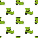 Green Leprechaun Shoe Seamless Pattern. A seamless pattern with a green Leprechaun shoe flat icon, isolated on white background. Useful also as design element vector illustration